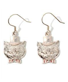 Hat cat earrings ThreeFourTime of (Three Four Time) (Earrings (binaural))   Pink Gold