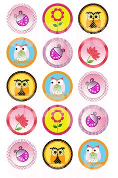 Random 1 inch digital bottle cap images by PatchScript on Etsy, $1.25