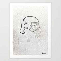 One line Storm Trooper Art Print by quibe - $18.72