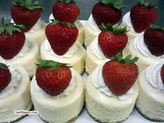 Bridal Shower.....Mini-Strawberry-Cheesecakes.....maybe with Chocolate Crust? @Patty Markison Sellers