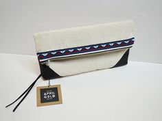 Leather x Canvas I Handsewn Bag / Gift by AprilGoldBags on Etsy, $25.00
