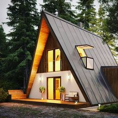Modern a-frame home kit. Great for offgrid affordable housing architecture Tiny House Cabin, Log Cabin Homes, Tiny House Plans, Tiny House Design, House Roof Design, Eco Cabin, Hut House, Log Cabins, A Frame House Kits