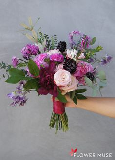 Beautiful bold colors in this DIY tutorial that shows you how to create a purple fuchsia bouquet featuring peonies, garden roses, sweet peas and more! Purple Roses Wedding, Pink And Burgundy Wedding, Peony Bouquet Wedding, Spring Wedding Flowers, Rose Bouquet, Floral Wedding, Bridal Bouquets, Pink Garden, Peonies Garden