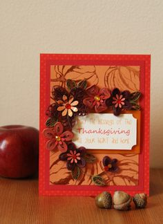 """Handmade Crimson Greeting Quilling """"Thanksgiving"""" Card with Quilled Flowers (Thanksgiving Day, Harvest, Fall, Autumn, Pumpkin). by FromQuillingWithLove on Etsy"""