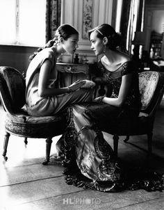ARTHUR ELGORT Haylynn and Lida in Ferre, Chateau Thoricourt, Belgium, British Vogue