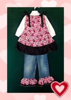 Hearts Zebra Print Girls Jeans Outfit & Matching Hot pink Hair Bow So Cute!!♥ - Search ebay item# 190635845932