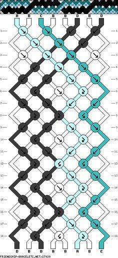 Pulsera de 8 Cordones, 4 Colores y 18 Filas
