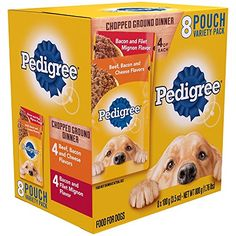 Pedigree Chopped Ground Dinner 8 Pouches Variety Pack 4Bacon and Filet Mignon Flavor 4 BeefBacon and Cheese Flavor * ** AMAZON BEST BUY ** #PedigreePet