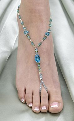 Pair of Aqua Beaded Foot Jewelry Barefoot Sandals