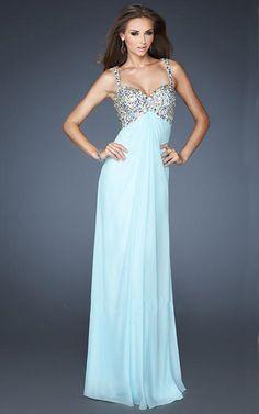 La Femme 18841 Ice Blue Beaded Sparkly Long Night Dress Cheap