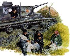 Dotación de un Panzer III del 3. Panzer Regiment (con el distintivo del Dragon alado), 2. Panzerdivision, desplumando un ave, Rusia 1942. Más en www.elgrancapitan.org/foro/