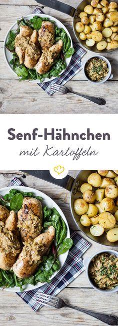 Eine aromatische Kombination aus Hühnerbrust mit Senf-Sauce und gebratenen Kartoffeln mit einer leicht säuerlichen Note.