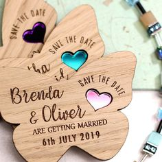Want a wooden save the date to match your butterfly wedding theme? Well now you can! These butterfly heart wedding magnets give the perfect rustic look with the options of coloured hearts, engraved motif or heart shaped hole. Butterfly Wedding Theme, Butterfly Baby, Wedding Boxes, Wedding Cards, Wedding Ideas, Budget Wedding, Wedding Planner, Wedding Invitations, Wedding Decorations