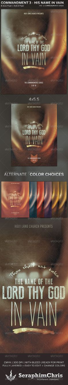 The Lord's Name: Church Flyer Template — Photoshop PSD #sermon series #paganism • Available here → https://graphicriver.net/item/the-lords-name-church-flyer-template/5815553?ref=pxcr