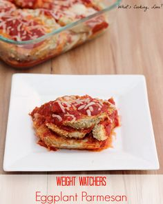 Weight Watchers Eggplant Parmesan.  Delicious baked eggplant parmesan that is a great healthy dinner. #weightwatchers #dinner #eggplantparmesan