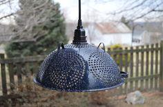 Vintage Blue Enamelware Colander Pendant Light by TGALCOLLECTIBLES