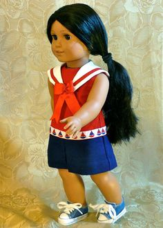 American Girl 18 inch doll clothes: Red, white and coulette dress by Calyxadollcreations