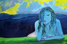pintura mujer desnuda azul