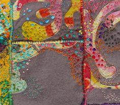 Helen Wells - colourful hand embroidery on grey felt