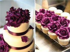 Pretty purple flowers on cake!