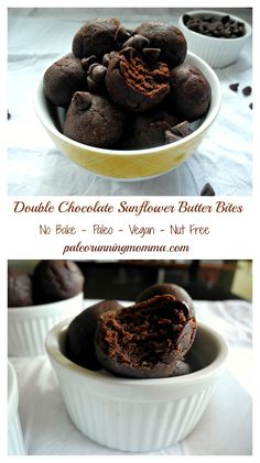 Double Chocolate Sunflower Butter Bites #paleo #vegan #nutfree