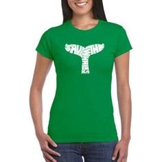 Los Angeles Pop Art Juniors' Animals Word Art Graphic Tee, Size: Large, Green