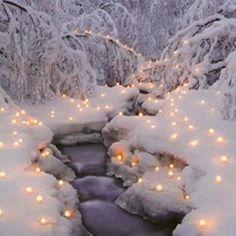 Lit up snow path