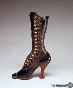 """Boots, Jack Jacobus, Ltd.: ca. 1895-1900,  Austria or England, leather. """"This boot represents a turning point in fashion, when the restrictive dress of the Victorian period gave way to the more relaxed styles of the early 20th century. As fashionable women began to lead more active lives, the high-button boot evolved into an essential element of dress... However, this particular boot... is actually seductive and daring and meant to peek provocatively from beneath skirts."""""""