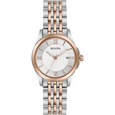 Never go out of style wearing this Bulova two-tone stainless steel bracelet watch. The timeless design includes a clean white dial simply styled with rosetone features and a discrete date window. From Bulova. Stainless Steel Watch, Stainless Steel Bracelet, Ladies Dress Watches, Bulova Watches, G Shock Watches, Photo Jewelry, Fine Jewelry, Gold Jewelry, Chunky Jewelry