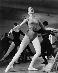 Lois Smith rehearsing in Pape Hall with The National Ballet of Canada, c. 1952
