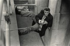 James Dean, shooting Roy and Marty Landau from below, New York City, 1954