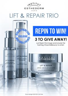 Re-Pin this image for the chance to #Win the Institut Esthederm Lift & Repair Trio! #EssentialBeauty