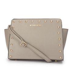 Michael Kors Outlet Selma Stud Messenger Medium Grey Crossbody Bags| Michael Kors Outlet Online