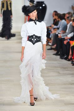 White floor-length flamenco skirt. Draped asymmetrical front. Four layers of ruffled chiffon. Ralph Lauren Spring 2013. (And the belt is pretty fabulous also.)
