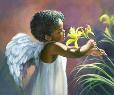 Angel Print featuring the painting Little Black Angel by Laurie Hein African American Art, African Art, American Baby, African Image, Art Africain, Black Angels, Male Angels, Black Artwork, Afro Art