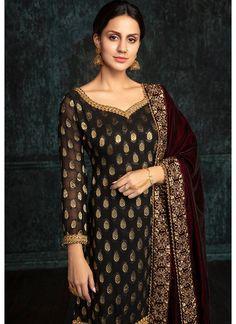 Black Brocade Punjabi Suit with Wine Shawl - Lashkaraa Pakistani Fashion Party Wear, Pakistani Wedding Outfits, Indian Fashion, Dress Indian Style, Indian Dresses, Indian Outfits, Indian Wear, Silk Anarkali Suits, Salwar Suits