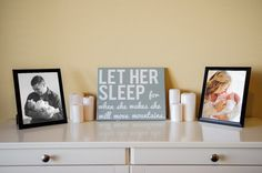 Custom canvas quote wall art sign Let Her sleep for when she wakes she will move mountains  by NicolettesCreations