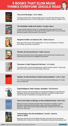9 Books Elon Musk Thinks Everyone Should Read 9 Bücher Elon Musk denkt, jeder sollte lesen Book Club Books, Good Books, Books To Read, My Books, Elon Musk Book, Reading Lists, Book Lists, Entrepreneur Books, Leadership