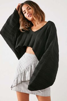Shop Silence + Noise Slouchy Ribbed High/Low Sweater