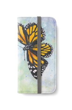 Monarch Butterfly iPhone Wallet by @savousepate on @redbubble #iphonewallet #phonewallet #butterfly #spring #watercolor #painting