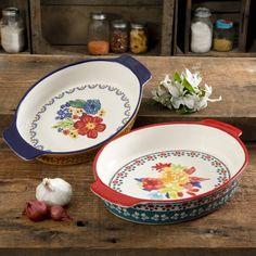 Pioneer Woman Stoneware Dazzling Dahlias Fiona 4 Piece Measuring Spoons Set NEW