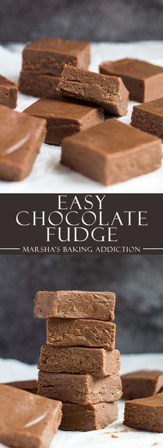 Easy Chocolate Fudge | marshasbakingaddiction.com @marshasbakeblog