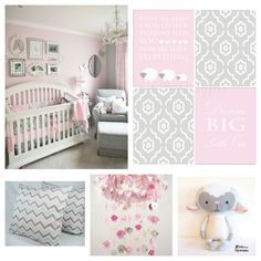 Pink and Gray Nursery Nursery prints from: www.etsy.com/shop/LJBrodock