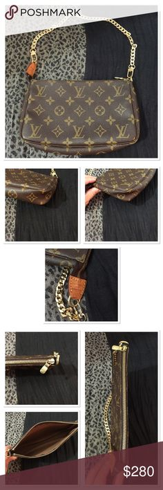 Louis Vuitton monogram canvas pochette accessories WITH CERTIFICATE OF AUTHENTICITY. In excellent condition, as you can see the strap isn't the original, and isn't a Louis Vuitton strap. The bag is very clean no marks, or dirty. Louis Vuitton Bags Mini Bags