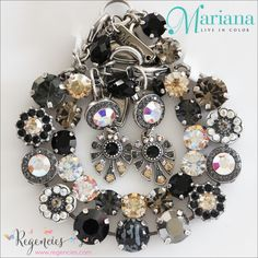 """Classic black Swarovski stones beautifully meld with golds, grays, and moonlight in this Mariana """"Adeline"""" jewelry set. From the latest Odyssey collection! Bracelets are $136.00, $74.00. Earrings $55.00."""