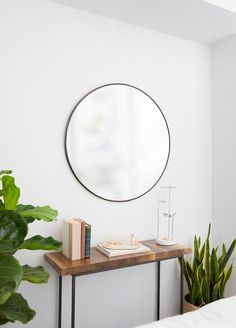 Umbra Hubba Wall Mirror | Shop Modern Round Mirrors Large Round Wall Mirror, Round Mirrors, Bathroom Wall Decor, Bedroom Wall, Bedroom Ideas, Mirror Shop, Lounge Areas, Diy Pallet Projects, Decoration