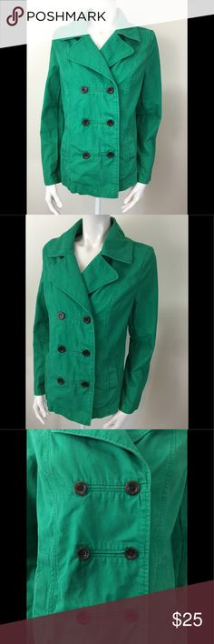 "Old Navy Double Breasted Denim Green Jacket Old Navy Women's Medium Green Double Breasted Jacket  100% Cotton  Armpit to Armpit - 19 1/2""  Sleeves - 24 1/2""  Length - 24 1/2"" (measured down the center back)  Thanks for stopping by and don't forget to check out our other listings  Condition: No rips,stains or holes but does show faint signs of fabric fading but nothing major  Inv T Jackets & Coats Jean Jackets"
