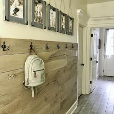 "One of my favorite spots in my house (and it's a hallway ) Free plan for the planked wall and the…"" #woodworkingideas"