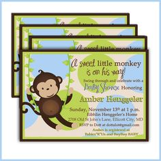 MONKEY Baby Shower Invitations 201  BABY BOY baby by LullabyLoo, $18.00