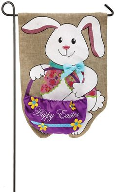 Evergreen burlap garden flag easter chick 14b3595 chicky dees about the design a happy bunny is holding a bright purple basket with text happy easter about the flag evergreen burlap garden flags feature classic negle Image collections